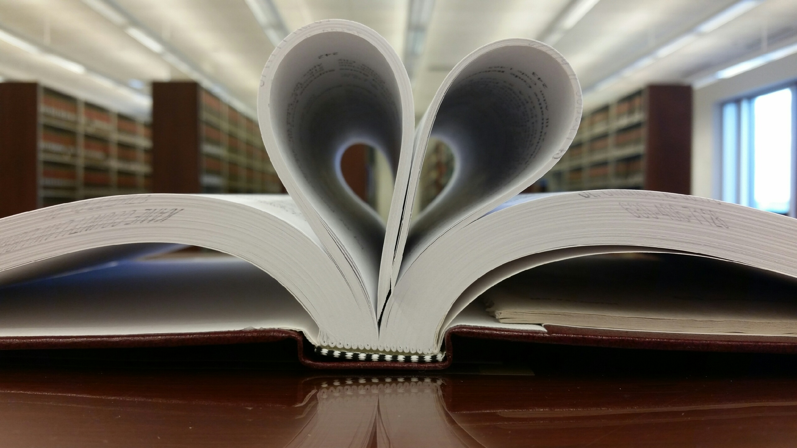 Open book pages shaped in a heart